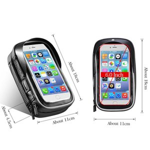 ROCKBROS Bicycle Bag 6 Inch Rainproof TPU Touch Screen Cell Bike Phone Bag Holder Cycling Handlebar Bags MTB Frame Pouch Case