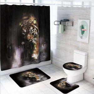 4 Pcs / Set 3D 호랑이 인쇄 패턴 플로어 매트 U 모양의 패드 화장실 커버 매트 방수 샤워 커튼 12 후크 욕실 패드
