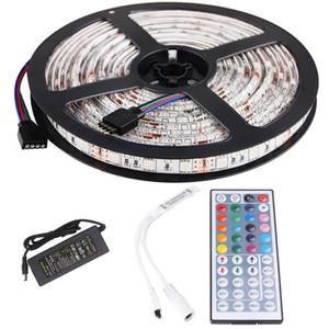 5M RGB LED قطاع ضوء الصمام الثنائي الشريط الشريط ماء بلوتوث واي فاي السيطرة 24Key DC 12V محول الطاقة كيت