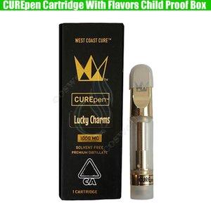 New Curepen cartouches Cure West Coast Vape Pen or TH210 Th205 Bobines en céramique Chariots avec Childproof Box Saveurs Autocollants prime atomiseurs