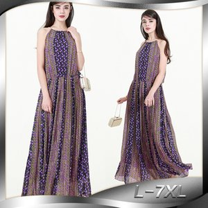 INS nuovo stile di estate etnici Womens Large Size Chiffon Holiday Beach Dress 9024 Esaurito