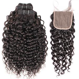 Kisshair المياه موجة الشعر 3 حزم مع لون الرباط إغلاق الطبيعية العذراء البرازيلي الإنسان حزم الشعر 10-26 بوصة