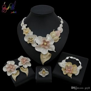Yulaili Fashion Jewelry Golden And Sliver Flower Fashion Necklace Bracelet Ring Earrings Jewelry Sets For Women Wedding