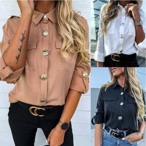 Verano de las señoras y flojo ocasional otoño de manga larga de un solo pecho de la camisa del color sólido del botón de solapa de bolsillo Epaulette tapa delgada