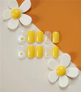 24 Pces Gradiente amarillo Poco huevos de gallina falso del arte del clavo pieza uñas postizas de acrílico Consejos de extensión Herramientas de manicura Finger