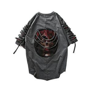 Разорванные футболки Мужчины Punk Rock Rave Футболка Психоделический Хип-Хоп Street Camisa Swag Rasgados Винтаж Рэп Мужская одежда Baggy Dx533 J190612
