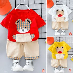 New Hot Summer Children Clothes Girls Cartoon Bear Suit Baby Boy Short Sleeve Set Cute Fashion Two-piece Suit Outfits