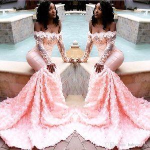 Moda 2020 formal do partido de manga comprida negras Evento rendas 3D Pink Flowers Mermaid Prom Dresse Vintage vestidos de noite BC1251