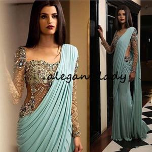 Aso Ebi Arabisch Luxurious Sexy Indiens Abendkleider wulstige Kristalle Mermaid Minze Abendkleider formales Partei zweites Empfangskleid