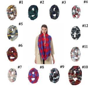 Plaid Ring Scarf 12 Colors Infinity Shawl Wrap Loop Scarf Knitting Multi-function Pañuelo en la cabeza Mujeres Neckchief 20pcs LJO7150