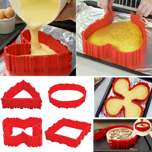 4 Pcs / set moule à gâteau en silicone bakeware serpent magique bricolage cuisson rectangulaire en forme de coeur carré gâteau ronde outils de pâtisserie de moule b932