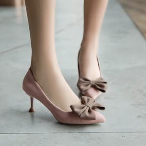 2019 Весна Высокие Тонкие Каблуки Женщины Stiletto Slip On Butterfly-Knot Твердые Насосы Женская Fenty Beauty Party Shoes