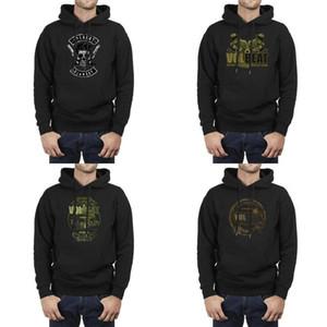 Hombres Diseño Impresión Volbeat Gangsters Cadillac Blood-Limited negro paño grueso y sudaderas con capucha Vintage Amigos suéter con capucha esp 2001 Dinamarca personalizada