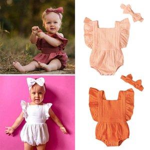 Ins 2020 new Summer Girls Rompers+Bows headband 2pcs set Baby Rompers Newborn Jumpsuit Girls One Piece Clothing Cotton Newborn Romper B757