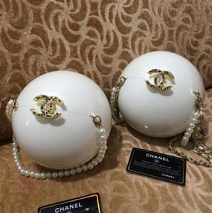1PCS Muito bonito preto e branco bolsa de bola pérola de Moda Clutch Wallet luxo Womens Bolsa de ombro partido Bolsa saco do presente VIP