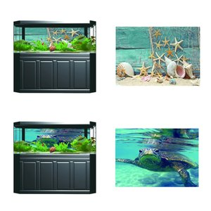 2 Pcs Fish Tank Aquarium Single-sided Adhesive Poster Background Sticker Starfish   Turtle Picture