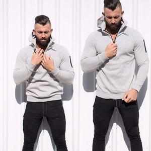 Estética muscular 2018 Sudaderas casuales Hombres Chándal con cremallera Gimnasio Sportwear Sudadera transpirable Sudaderas con capucha Chaquetas
