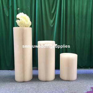 سيل جديد من ورق الكرافت البيضاء العمود عمود الزخرفية أعمدة الزفاف رخيصة لطريقة المشي عمود موقف senyu0484