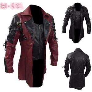 모터 Mens 가짜 모피가 코트 패션이 겨울에 옷깃 목 긴 소매 재킷 캐주얼 남성 가죽 의류 PU 플러스 사이즈