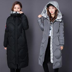 Diwish 2019 Winter Jacke mujeres espesan mantienen a la mujer caliente de la capa empalmados con capucha de alta calidad de Invierno largo más el tamaño Parkas Casual