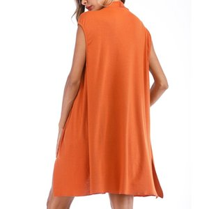 2019 New Summer Open Front Coat Long Cloak Jackets Fashion Women Sleeveless Soild Slim Orange Body Medium Long Outwear Coats BB4