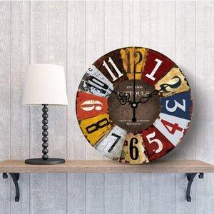 Orologio da parete silenzioso imitazione legno Rusty rame rivestito impermeabile orologio ultra-silenzioso al quarzo decorazioni per la casa