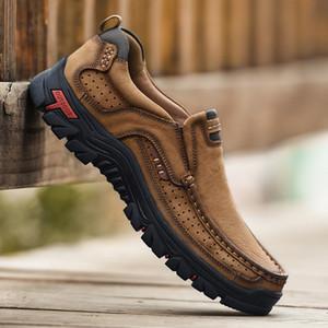 iş elbiseleri ayakkabıları erkekler 2019 Yeni Amazon sınır ötesi büyük deri erkek tembel baba adam açık ayakkabılar dağcılık
