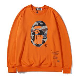 Venta al por mayor del amante de dibujos animados de blanco Negro Imprimir cuello redondo suéter adolescente deporte de Hip Hop Sudadera con capucha naranja sudaderas