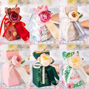 Caixa dos doces do casamento com Flor de doces de casamento Europeia favores Caixa de presente com fita de seda pequeno tamanho grande papel caixas do favor