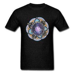 Луна Mandala футболки Мужчины Классический индийский Tshirt Для взрослых Street Style Мужской Дешевле T-Shirt Хлопок Бесплатной доставки