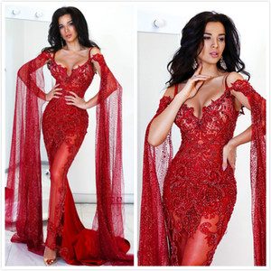 Aso Ebi 2020 Arabic Burgundy Luxurious Sexy Evening Dresses Lace Beaded Prom Dresses Mermaid Formal Party Second Reception Gowns ZJ205