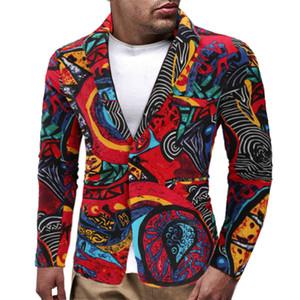 Erkek Tasarımcı Hommes Blazer 2019 Sonbahar Ceket Baskı Streetwear Kostüm Erkekler Ince Blazer Etnik Tarzı Rahat Blazer ve Suits erkek Giyim