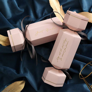 Oval-Geschenk-Box DIY Favor Halter Kreativ Polygon-Hochzeit bevorzugt Kästen Bonbons und Süßigkeiten Geschenk-Box mit Band 6 Farben wählen