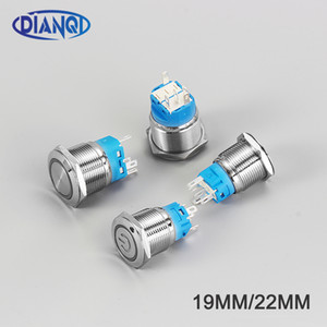 Schalter Neuer Typ 19mm22mmWaterproof Momentary verriegelnd Edelstahl-Metall-Türklingel-Bell-Horn Push Button Switch Auto LED EnginePC