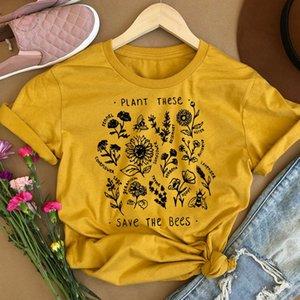 Women T Shirt Cotton Plant These Bloom Flowers Tshirt Crewneck V Neck Summer Shirts Ulzzang Tees O Neck Tops Dropshipping