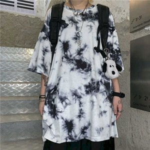 NiceMix gothic tie dye couple clothes punk t shirts harajuku tshirt oversized t shirt men clothing t-shirts Korean summer tees