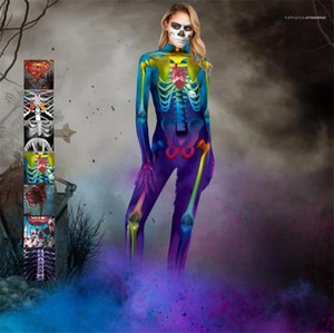 Skeleton Rack Cosplay Clothes Terrorist Styles 3D Print Ladies Jumpsuits Halloween Womens Cosplay Catsuit Costumes Zombie