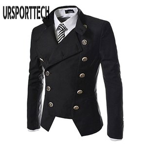 URSPORTTECH 3 Renkler Çift Breasted Blazer Erkekler Moda Günlük Avrupa Tarzı Yaka Slim Fit Suit Blazer Ceket Erkek Ceket