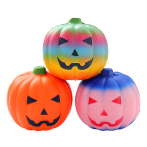 10cm Halloween Gift Lovely Pumpkin Head Squishy Slow Rising Squeeze Elastic Bread Charm Stress Relief Kid Toy Party Favor VT0504