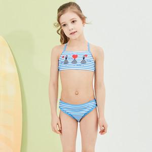2019 nouveau maillot de bain de bébé Kid Bikini enfants Jolie Strip Top Halter maillot de bain pour fille Beachwear