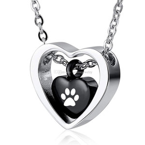 Pet dog Keepsake Necklaces Paw print Ash Memorial Pendant, Stainless Steel Cremation Jewelry for Ashes for Pet ( black)