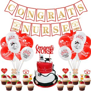 Nurse theme party decoration nurse pull flag hospital care cake insert card insert doctor latex balloon set