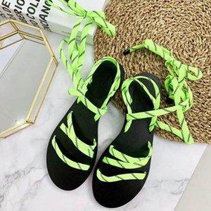 2018 Mulheres de Verão Quente Anel-Toe Cruz Tornozelo Braid Strap Praia Sandálias Boho Flat Shoes Flippers 35 - 41