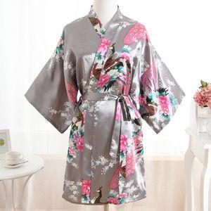 Women Satin Short Nightgown Kimono Robe New Gray Bathrobe Floral Pajamas Wedding Bride Bridesmaid Sexy Dress Gown Plus Size