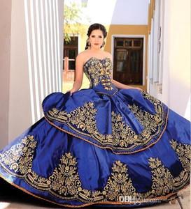 Vintage robe de bal sweetheart satin Quinceanera robes or dentelle appliques broderie en couches de perles longueur de plancher robes de bal
