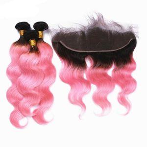 Silanda Hair Ombre # 1b / розовая розовая кузовной волна Remy человеческие волосы Weaves 3 ткацкие пучки с 13x4 кружева лобное закрытие Бесплатная доставка