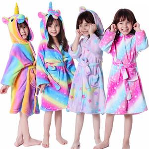 niños lindos del unicornio camisones de franela Romper con capucha de una sola pieza Pijamas animales bebés Albornoz infantil de la felpa del mono cosplay LJJA3355-3
