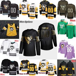 2019 Zurück Golden Edition Pittsburgh Penguins Hockey 1 Casey DeSmith 2 Chad Ruhwedel 6 Jamie Oleksiak 12 Dominik Simon Stadium Series Trikots