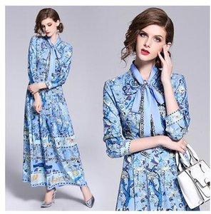 2020 nuovo collare dell'arco dell'allacciamento delle donne progettazione maniche lunghe blu stampa floreale a vita alta maxi abito lungo XXL