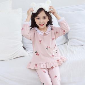 Girls' Pajamas Princess Soft Cotton Children's Long Sleeve Home Clothes Pajama Sets Set Top And Pants Girl 6 Pijama Birthday Y200704